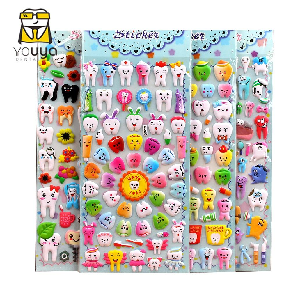 Cartoon Dental <span class=keywords><strong>3D</strong></span> Stickers Teeth Shape Sticker Sheet Molar Shape Tooth Logo Plastic Stickers