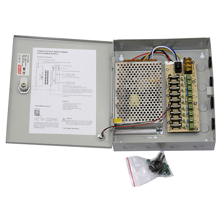Uninterrupted Switching Power Supply for Monitoring Equipment Security camera 9CH Outputs CCTV 10A 12V