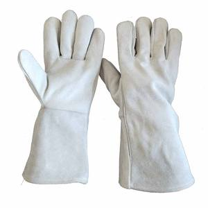 A grade grey full cow split leather Fireproof Flame-retardant Gloves construction welding hand gloves