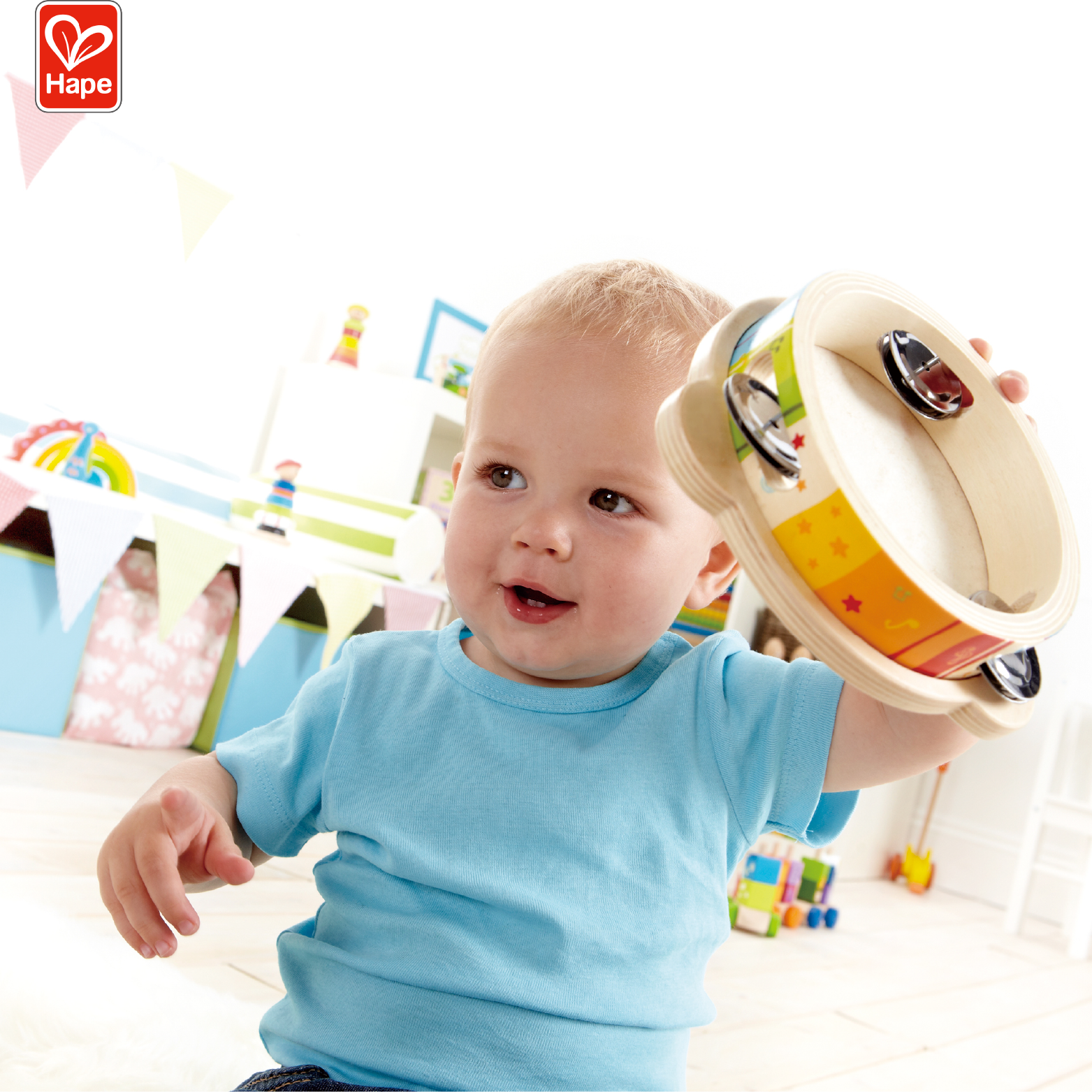 Hape 2 in 1 Tambourine and Drum Wooden Music Toy for Baby
