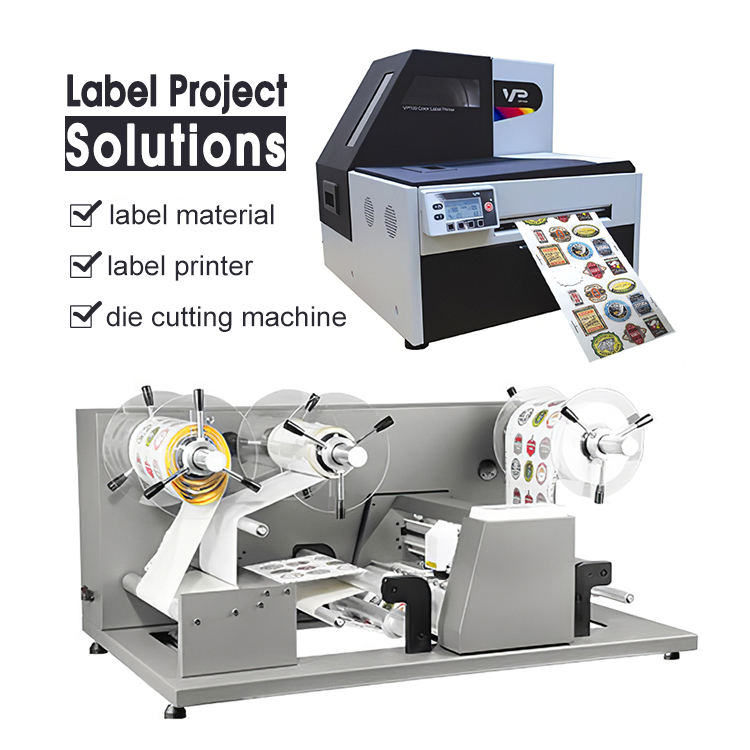 Free Media Roll To Roll Digital Label Paper Film Printer And Troqueladoras Rotary Roll Label Die Cutter Machine