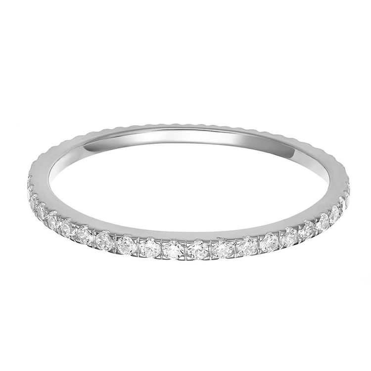 RINNTIN SR63 Sterling Silver 925 CZ Simulated Diamond Stackable Ring Eternity Bands for Women