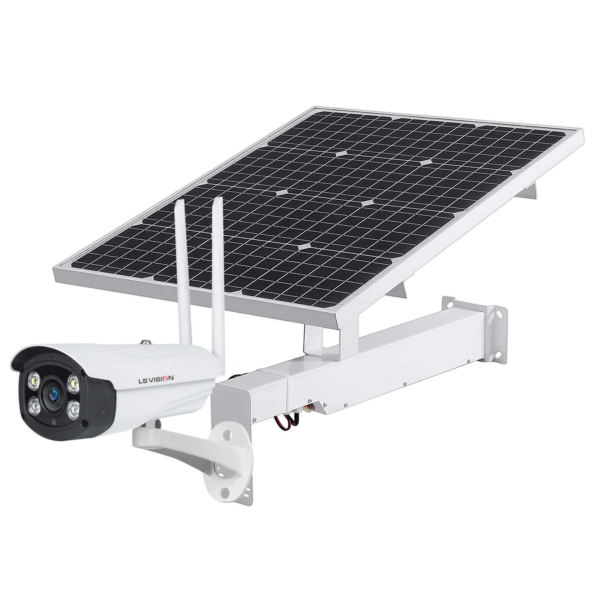 LS VISION 4G Solar Powered Camera System Accessories with 50W 70W Solar Panel 12V 30AH lithium Battery and Mounting Bracket