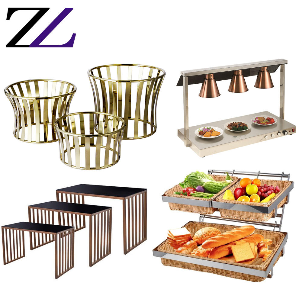 Chaffing dish buffet food warmer hotel catering utensils ware kitchen tools stainless steel gold luxury restaurant buffetware