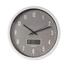 14inch round custom cheap plastic printed simple wall clock with date and temperature sweep movement