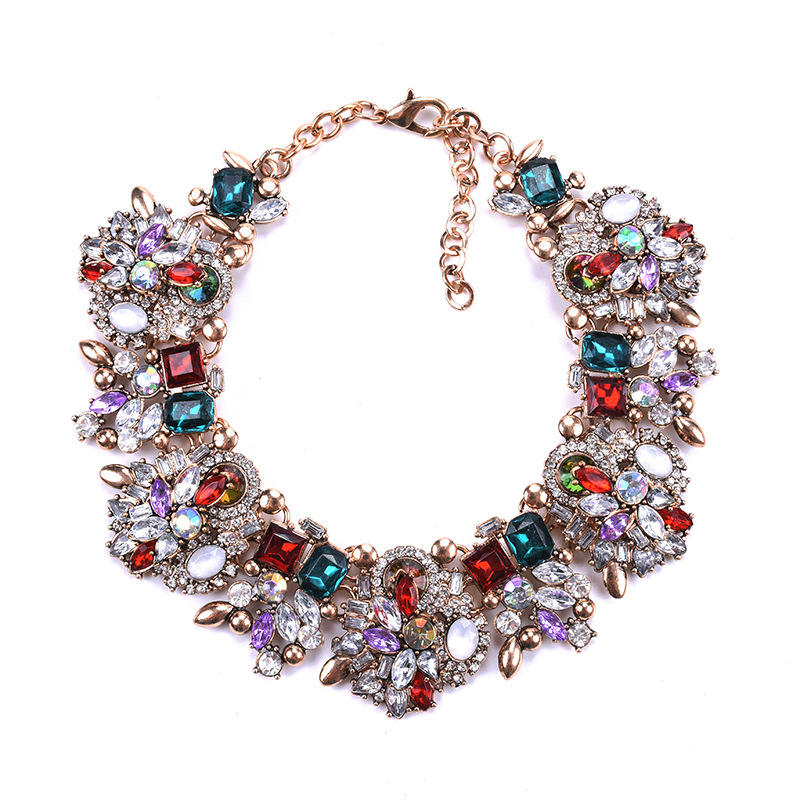 2019 New fashion bling large crystal shiny stone party statement necklace for women