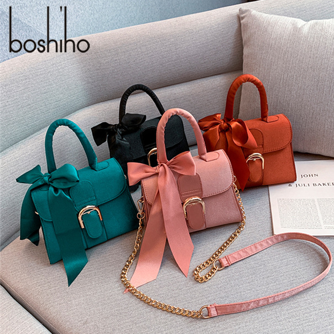 Boshiho decoration crossbody bag women ladies trapeze handbag with bow shoulder luxury bags metal chains sling handbags