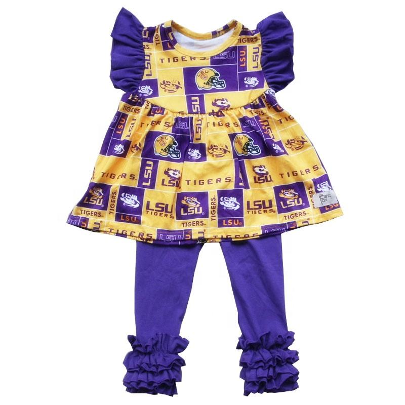 children summer football printing tunic and purple long icing ruffle pants wholesale boutique baby cotton set