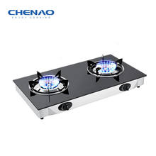 Tempered glass stainless steel gas cooking stove with double burner /kitchen appliance