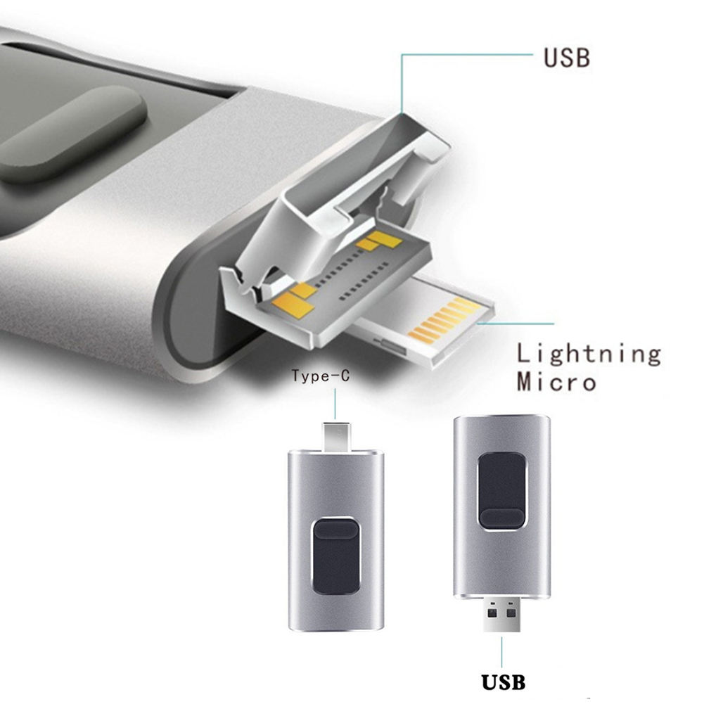 Hot Deal [ Usb Otg ] Factory Price 4 In 1 Pen Drive USB OTG Type C Flash Drive Memory Stick 64GB 32GB 16G 8G