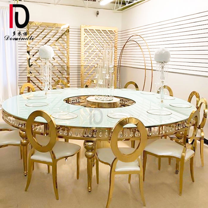 Luxury golden stainless steel frame round moon glass top crystal wedding table