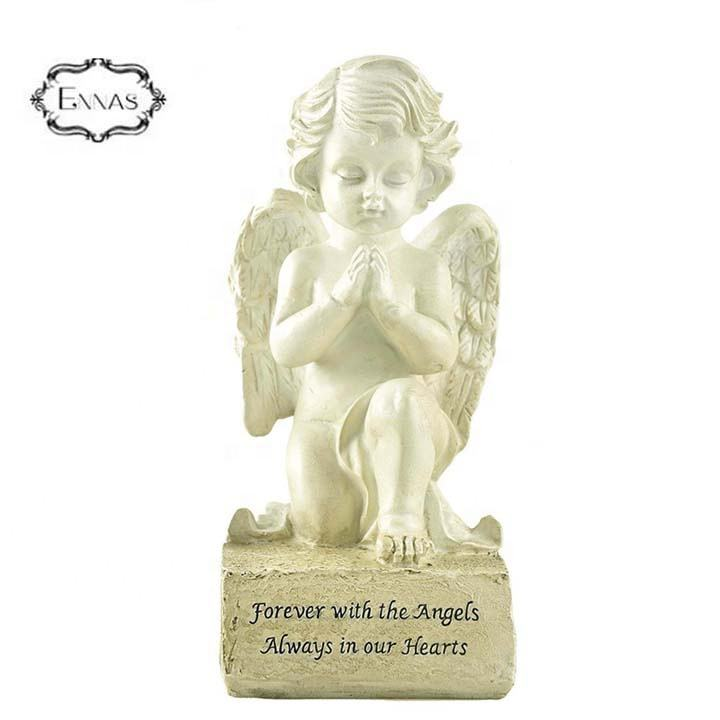 Resin Art Creamy-white Angelic Praying On Base Latex Angel Statue For Decor