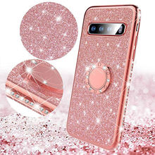 diamond  Phone Case Holder For Samsung S9 S9 Plus S8 S8 Plus S7 Edge Phone Cover Case For Samsung S10 Soft TPU Phone Case