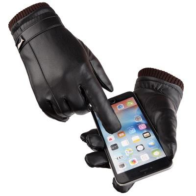 E387 Man Fuax Leather PU Gloves Windproof Warm Plus Velvet Thickened Motorcycle Driving Touch Screen Glove