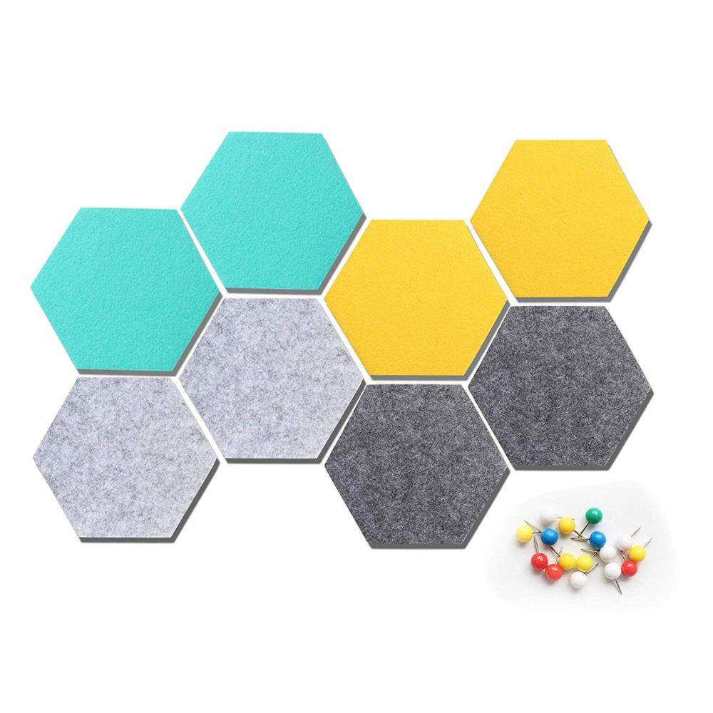Self Adhesive Felt Tile Board Hexagon Push Pin Board Wall Bulletin Boards for Notes,Pictures,Photos,Memo, Office and Home Decor