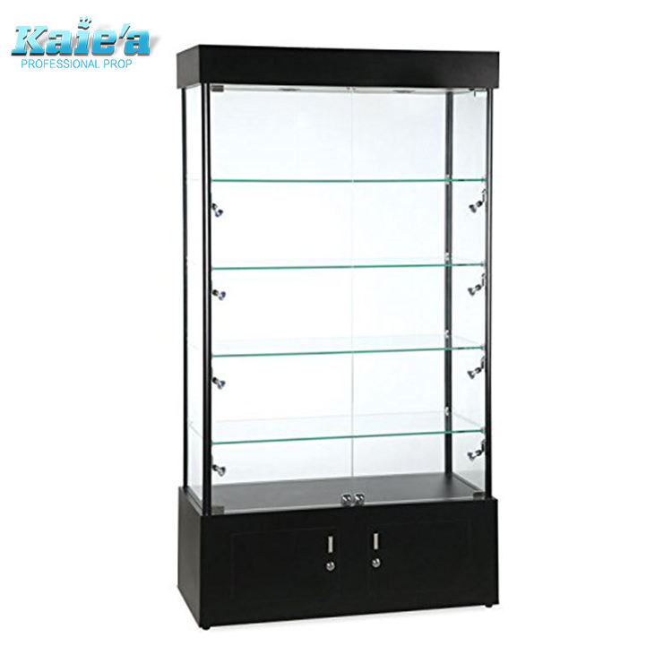 Glass display showcase New Retail Rectangular Halogen Lighted Showcase Tower Display Case Black