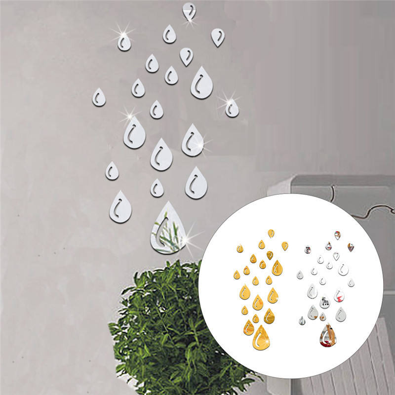 20pcs/set Acrylic Raindrop Mirror Sticker Wall Art Home DIY Decoration Mirror Bathroom Removable Wall Stickers Home Decor