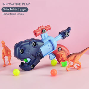 DIY Take apart toy dinosaur gun soft bullet gun shooting game Kids detachable toy gun with funny doll target set