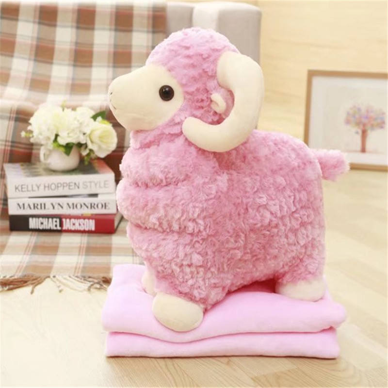 Lovely 50cm size Plush Sheep Goat Shaped Toy Cotton Toys With Blanket