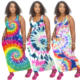China Tie Dye China Manufactory Tie Dye Maxi Dress Sleeveless Multi Color 3D Printer Plus Size Wrap Dress Vest Dress Summer