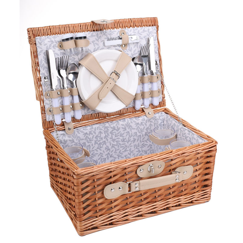 4 person cutlery set picnic willow basket with PU leather trim