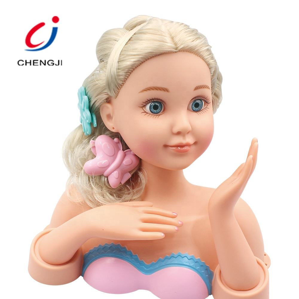 Girls fashion princess beauty set toy hair styling pretty makeup game doll heads