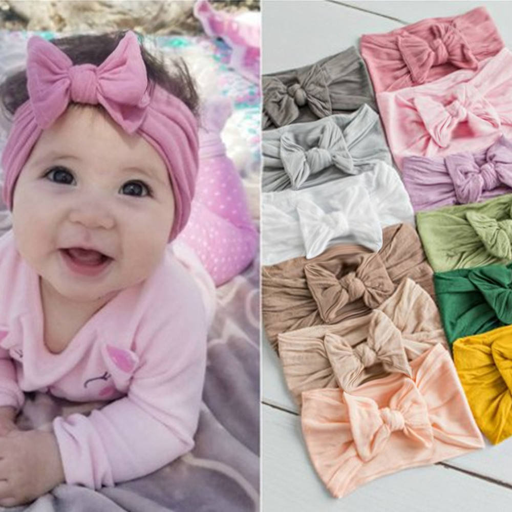 """10 Pcs 3.25/"""" Baby Infant Toddler Girl Elastic Headband Hair Bow stretch 10 color"""