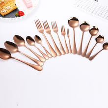 Mirror Polished Eco-Friendly Dishwasher Safe Coffee Spoon Rose Gold Kitchen Flatware Set Customized Stainless Steel Spoon Fork