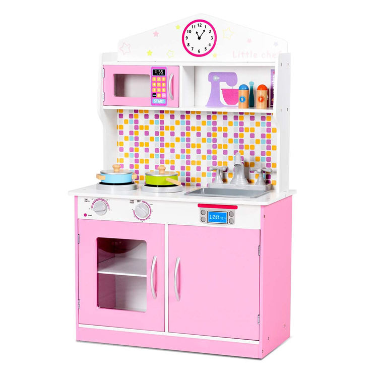 Mdf [ Girls Toy ] Kids Wooden Toy Kitchen Kids Girls Play Role Cook Home Kitchen Toy Set Large Pretend Wooden Play Kitchen With 2 Pans
