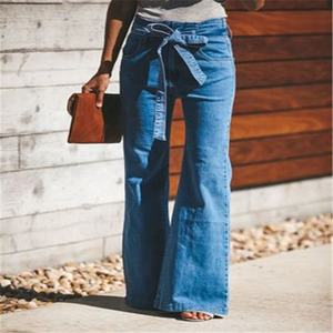Flare Jeans Women High Waist Blue Jeans Wash Vintage Wide Leg Belted Stretchy Denim Jeans Women