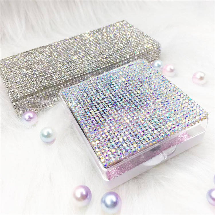 Glitter Bling diamanten Leer Diamant Lash Box Bling Nerz Wimpern Fall platz lash box ohne Wimpern