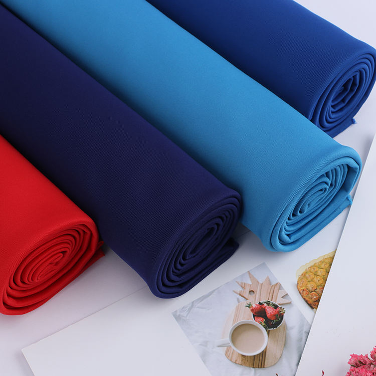 J004-3 Knitting solid color interlock for sportswear polyester spandex blend fabric