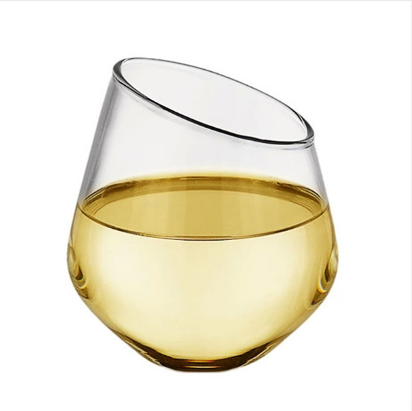 2020 New Clear Single Wall Stemless Wine Glass with Diamond Base and Slant Rim by Handmade