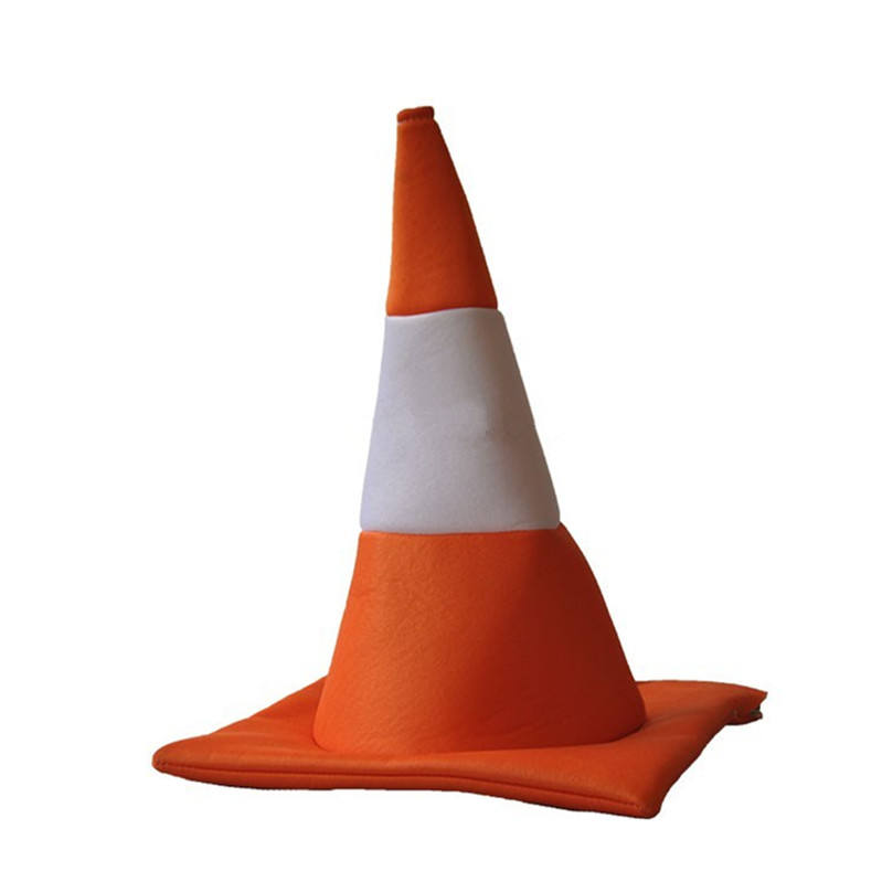 Unisex Orange and White Traffic Light Party Velvet Foam Traffic Cone Hat