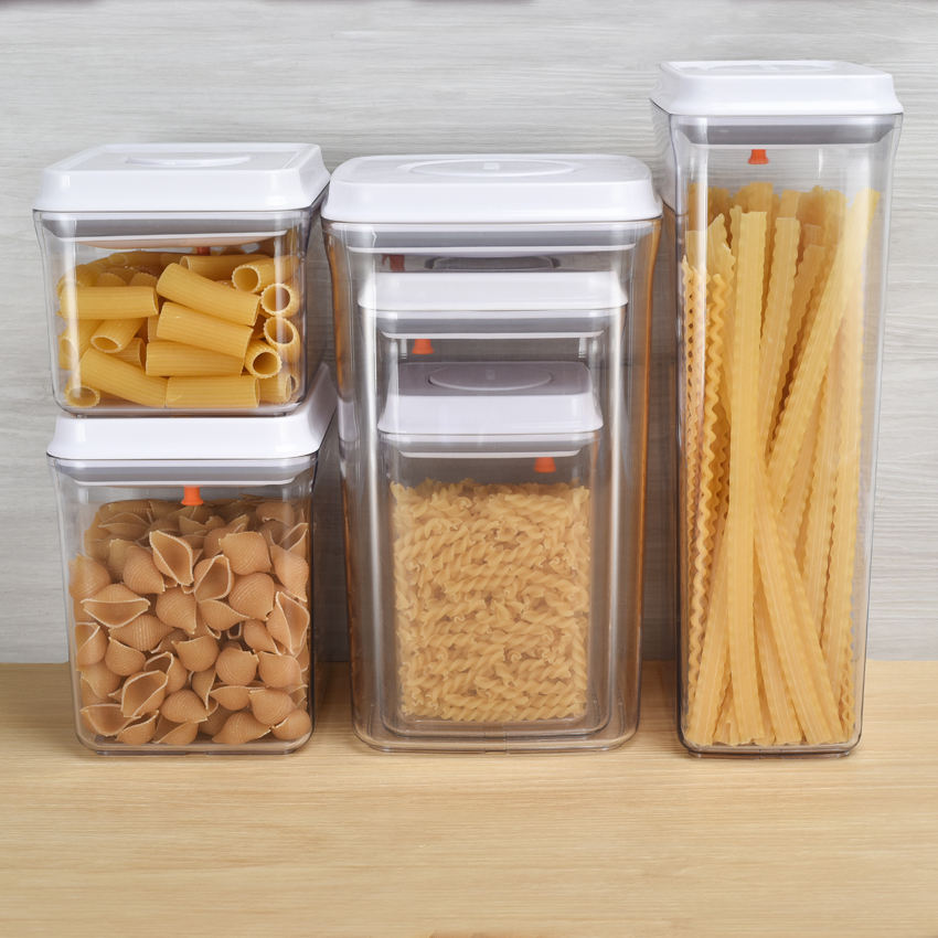 Amazon Hot OEM POP TOP Food Grade Cereal Kitchen Airtight Food Container Dry Food Plastic Storage Container Set with Lid