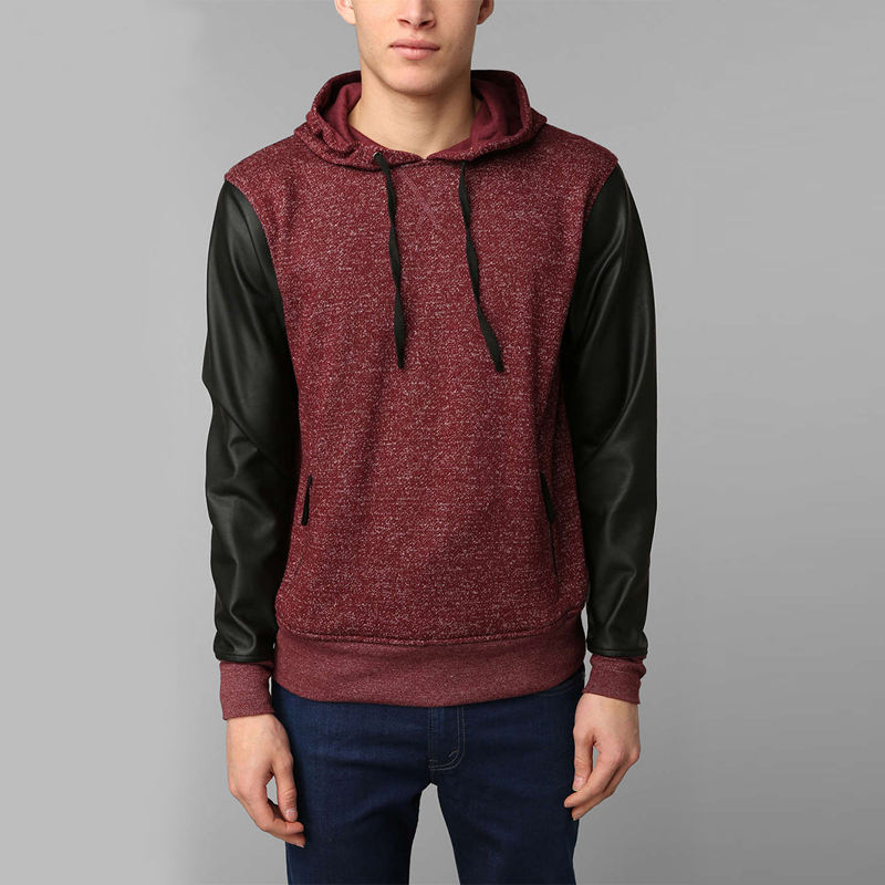 wholesales factory designs fashion mens faux leather sleeves pu leather blank pullover custom hoodie men