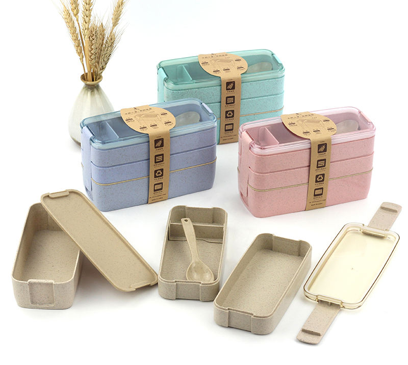 Reusable Eco Friendly Food Container Storage Box Rectangle Wheat Straw 3 layer Lunch Box