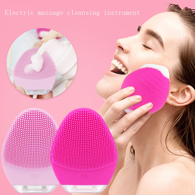 Waterproof Portable Electric Cleanser Rechargeable Sonic Silicone Face Scrub Device Facial Cleansing Brush