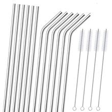 Colorful eco friendly Bar Accessories stainless steel straw set christmas decoration