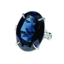18x25mm super large sapphire ring atmosphere high-grade jewelry 925 silver neutral ring men and women can wear