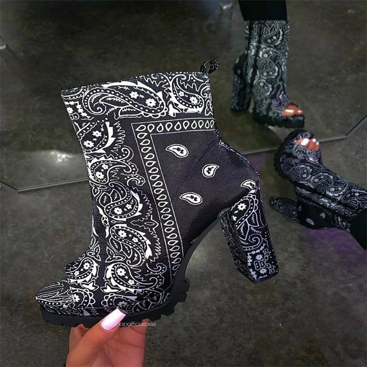 New totem waterproof platform open toe mid-tube women's boots simple fashion high heels occident high heels