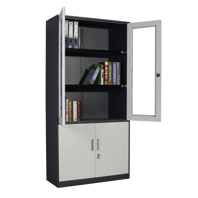 School Furniture Up Glass Down Iron Sliding Door Storage Classroom Cabinets School Iron Cabinet