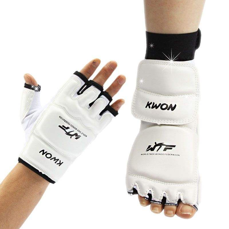Taekwondo foot protector karate feet guard sparing instep guard white TKD ankle guard Martial arts protection WTF approved