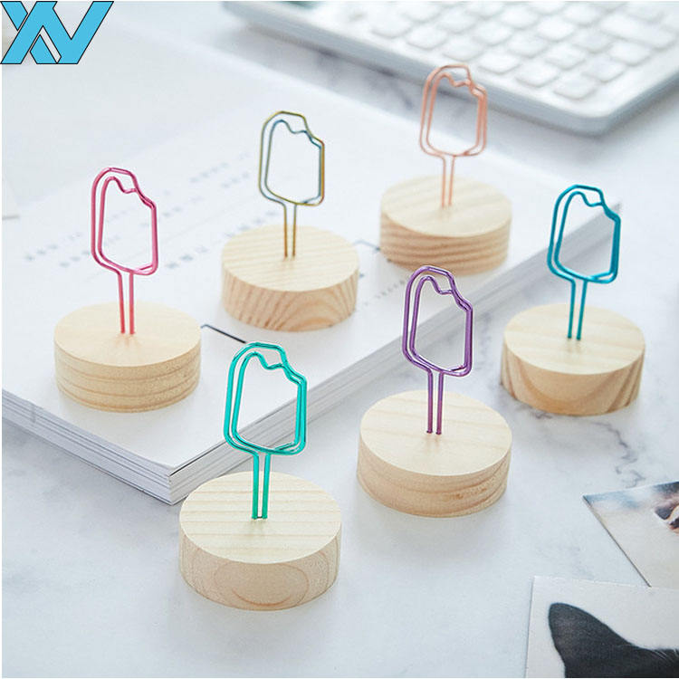 metal wire ice lolly stand memo photo clip card holder cube wooden memo