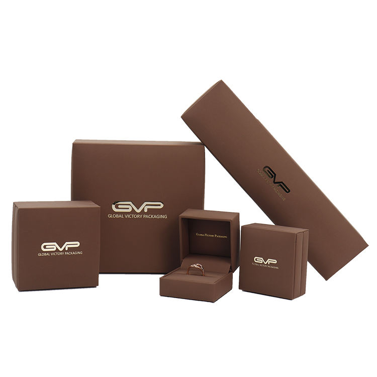 Brown brush PU leather high class jewelry packaging case for jewelry show