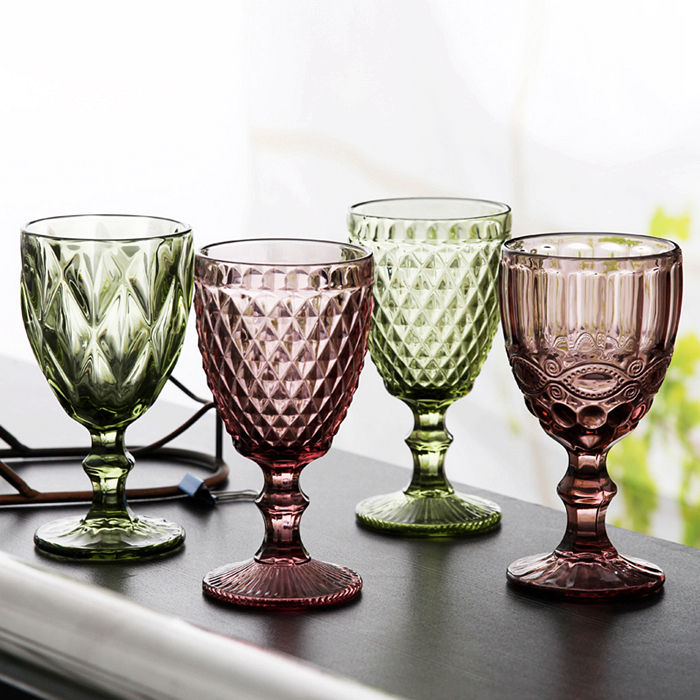 Coloured Retro Vintage Holiday gifts dessert finest wine glasses