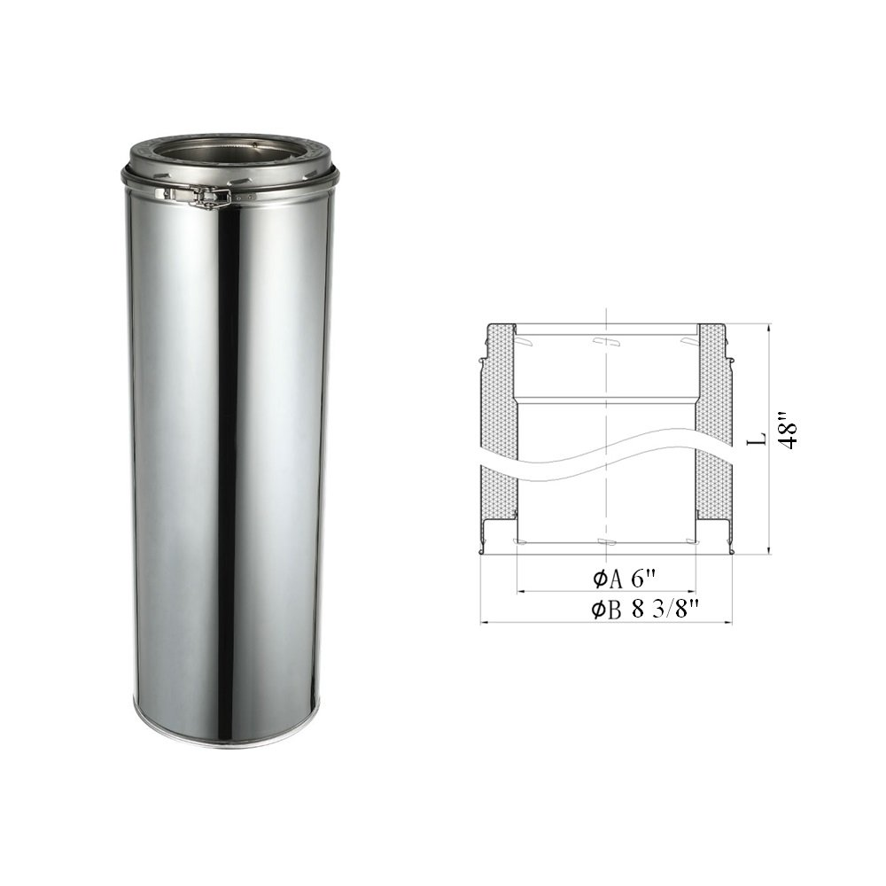 Stainless steel double wall insulated chimney wood stove pellet stove chimney,tee, elbow,tube