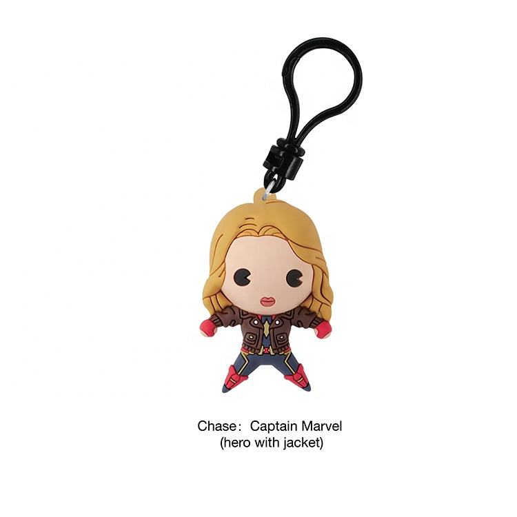 CUTE FIGURINE PLASTIC JUGUETES ANIMATION ASSEMBLE 3D CARTOON CHARACTER CAPTAIN MARVEl MOVIE CLIP BAG KEYCHAIN FOR COMPETITION