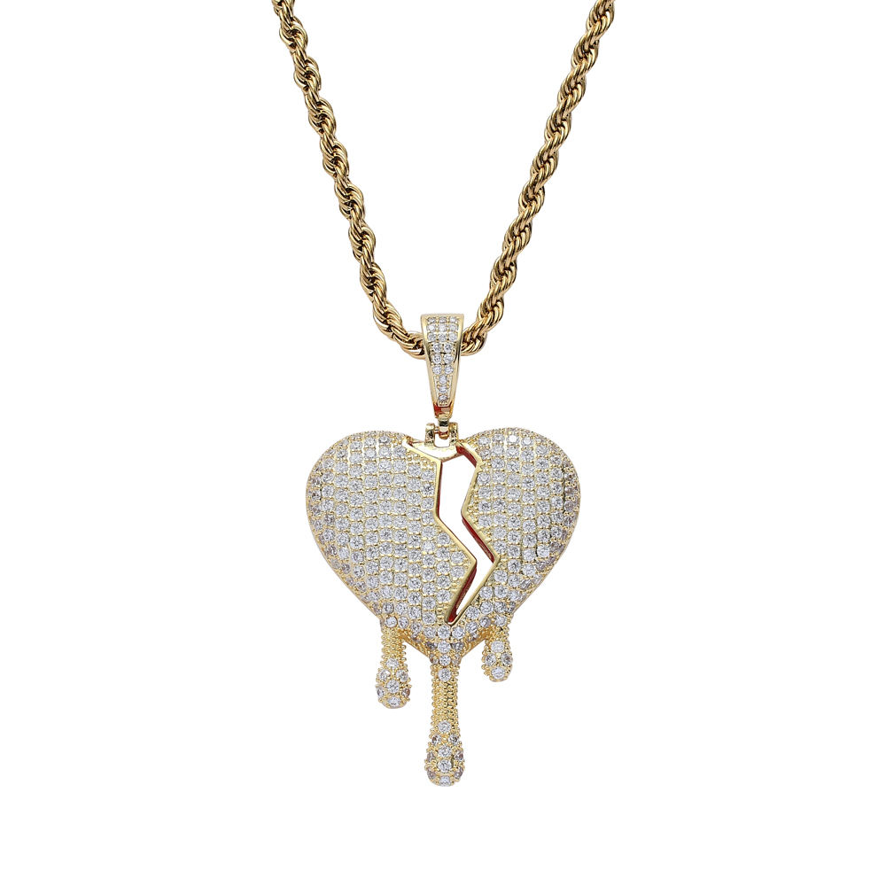 CN225 Mode Hart Hanger Messing Micro Pave Met Cz Bling Bling Mens Hart <span class=keywords><strong>Ketting</strong></span> Rock Sieraden