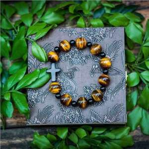 Natural Stone Rose Red Tiger Eye Cross Bracelet Christ Prayer Open Bead Bracelet